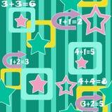 Ζωηρόχρωμο άνευ ραφής σχέδιο υποβάθρου παιδιών αριθμών και αστεριών Στοκ εικόνες με δικαίωμα ελεύθερης χρήσης