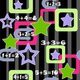 Ζωηρόχρωμο άνευ ραφής σχέδιο υποβάθρου παιδιών αριθμών και αστεριών Στοκ φωτογραφίες με δικαίωμα ελεύθερης χρήσης