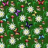 Ζωηρόχρωμο άνευ ραφής σχέδιο υπό μορφή δασικού καθαρίσματος Στοκ φωτογραφίες με δικαίωμα ελεύθερης χρήσης