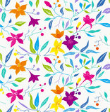 Ζωηρόχρωμο άνευ ραφής floral σχέδιο. Στοκ Εικόνα