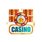 Ζωηρόχρωμο έμβλημα παιχνιδιού Αρχικό σχέδιο λογότυπων για τη βασιλική χαρτοπαικτική λέσχη με τα τσιπ παιχνιδιού Εικονίδιο με τα χ Στοκ Εικόνες