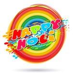 Ζωηρόχρωμο έμβλημα για το ινδικό φεστιβάλ των χρωμάτων και της άνοιξη Ευτυχής γράφοντας κάρτα Holi Στοκ Εικόνες
