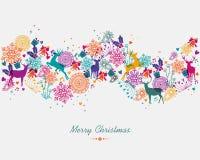 Ζωηρόχρωμο έμβλημα γιρλαντών Χαρούμενα Χριστούγεννας Στοκ Φωτογραφίες