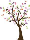 Ζωηρόχρωμο δέντρο με το διάνυσμα πεταλούδων Στοκ φωτογραφία με δικαίωμα ελεύθερης χρήσης