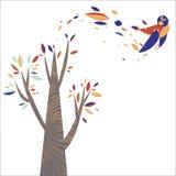 Ζωηρόχρωμο δέντρο με το πουλί φύλλων Στοκ Εικόνα