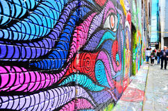 Ζωηρόχρωμο έργο τέχνης γκράφιτι στην πάροδο Hosier στη Μελβούρνη Στοκ εικόνα με δικαίωμα ελεύθερης χρήσης