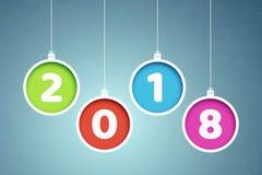 Ζωηρόχρωμο έτος εμβλημάτων 2018 Χριστούγεννα σφαιρών πολύ&c Αποκόμματα εγγράφου Αφηρημένα νέα εμβλήματα έτους Snowflakes σε ένα μ ελεύθερη απεικόνιση δικαιώματος