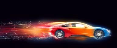 Ζωηρόχρωμο αθλητικό αυτοκίνητο - ίχνη ταχύτητας Στοκ Φωτογραφίες