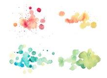 Ζωηρόχρωμο αναδρομικό εκλεκτής ποιότητας αφηρημένο χρώμα χεριών τέχνης ακουαρελών watercolour στο άσπρο υπόβαθρο στοκ εικόνα με δικαίωμα ελεύθερης χρήσης