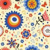 Ζωηρόχρωμο ανθίζοντας άνευ ραφής σχέδιο λουλουδιών Στοκ Φωτογραφία