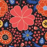 Ζωηρόχρωμο ανθίζοντας άνευ ραφής σχέδιο λουλουδιών Στοκ Εικόνα