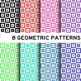 8 ζωηρόχρωμο βασικό τετραγωνικό geomertic σχέδιο Στοκ Εικόνα