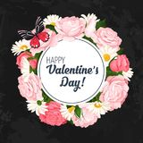 Ζωηρόχρωμο γαμήλιο στεφάνι με τα τριαντάφυλλα, chamomile και lavender Διανυσματική floral συλλογή Στοκ Εικόνα