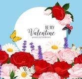 Ζωηρόχρωμο γαμήλιο στεφάνι με τα τριαντάφυλλα, chamomile και lavender Διανυσματική floral συλλογή Στοκ Εικόνες