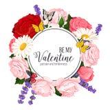 Ζωηρόχρωμο γαμήλιο στεφάνι με τα τριαντάφυλλα, chamomile και lavender Διανυσματική floral συλλογή Στοκ φωτογραφία με δικαίωμα ελεύθερης χρήσης