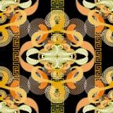 Ζωηρόχρωμο γεωμετρικό ακτινωτό διανυσματικό άνευ ραφής σχέδιο γραμμών Ημίτονο fractals φαντασίας υπόβαθρο Αφηρημένος επαναλάβετε  απεικόνιση αποθεμάτων