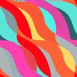 Ζωηρόχρωμο γεωμετρικό λαϊκό άνευ ραφής σχέδιο τέχνης με τα κύματα απεικόνιση αποθεμάτων