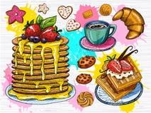 Ζωηρόχρωμο γλυκό σύνολο προγευμάτων Το Panckakes, crepes, waffie, φλιτζάνι του καφέ, φράουλα, σοκολάτα, επιδόρπια, croissant απεικόνιση αποθεμάτων
