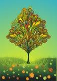 ζωηρόχρωμο δέντρο λουλο διανυσματική απεικόνιση