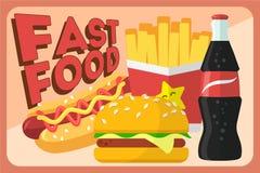 Ζωηρόχρωμο διανυσματικό αναδρομικό έμβλημα γρήγορου φαγητού Γεύμα χάμπουργκερ γρήγορου φαγητού και εστιατόριο, νόστιμο καθορισμέν Στοκ Εικόνα