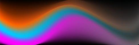 Ζωηρόχρωμο διανυσματικό αφηρημένο υπόβαθρο, πορτοκαλί, μπλε πορφυρό κυματιστό διάνυσμα στη σκοτεινή βάση διανυσματική απεικόνιση