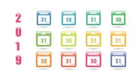 Ζωηρόχρωμο διανυσματικό ημερολόγιο για το 2019 με τον αριθμό ημερών σε έναν μήνα απεικόνιση αποθεμάτων