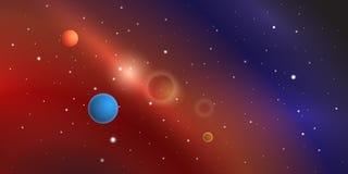 Ζωηρόχρωμο διαστημικό διάνυσμα με τους πλανήτες, τα αστέρια και τα νεφελώματα ελεύθερη απεικόνιση δικαιώματος