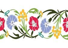 Ζωηρόχρωμο εκλεκτής ποιότητας floral υπόβαθρο άνευ ραφής β συνόρων wildflowers Στοκ Εικόνες