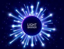 Ζωηρόχρωμο ελαφρύ έμβλημα με τις καμμένος ακτίνες Λάμποντας έμβλημα κύκλων νέου φωτεινό πυροτέχνημα Μπλε αστέρι νέο υπόβαθρο έτου διανυσματική απεικόνιση