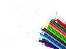 ζωηρόχρωμο λευκό μολυβιών ανασκόπησης Στοκ Εικόνες