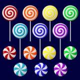 ζωηρόχρωμο εύγευστο lollipop συλλογής διανυσματική απεικόνιση