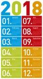Ζωηρόχρωμο ημερολόγιο για το έτος 2018, με το διανυσματικό σχήμα Στοκ φωτογραφίες με δικαίωμα ελεύθερης χρήσης