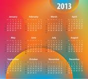 Ζωηρόχρωμο ημερολόγιο για το έτος του 2013 Στοκ Εικόνες