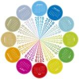 Ζωηρόχρωμο ημερολόγιο για το 2018 Κυκλικό σχέδιο Στοκ Εικόνες