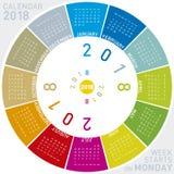Ζωηρόχρωμο ημερολόγιο για το 2018 Κυκλικό σχέδιο Στοκ εικόνες με δικαίωμα ελεύθερης χρήσης
