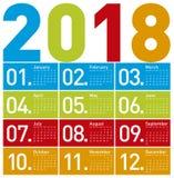 Ζωηρόχρωμο ημερολόγιο για το έτος 2018, στο s Στοκ Εικόνα