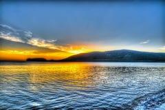 Ζωηρόχρωμο ηλιοβασίλεμα στην παραλία Mugoni Στοκ εικόνες με δικαίωμα ελεύθερης χρήσης