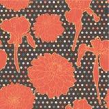 Ζωηρόχρωμο θερμό πορτοκαλί άνευ ραφής floral σχέδιο αστέρας-Iris με τα σημεία Στοκ Εικόνες
