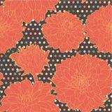 Ζωηρόχρωμο θερμό πορτοκαλί άνευ ραφής floral σχέδιο αστέρων με τα σημεία Στοκ εικόνα με δικαίωμα ελεύθερης χρήσης