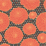 Ζωηρόχρωμο θερμό πορτοκαλί άνευ ραφής floral σχέδιο με Στοκ Φωτογραφίες
