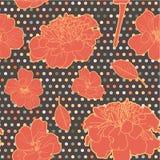 Ζωηρόχρωμο θερμό πορτοκαλί άνευ ραφής floral marigold σχέδιο με τα σημεία ελεύθερη απεικόνιση δικαιώματος