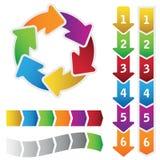 Ζωηρόχρωμο διάγραμμα κύκλων και ένα σύνολο βελών διαγραμμάτων στοκ εικόνες με δικαίωμα ελεύθερης χρήσης