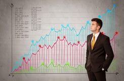 Ζωηρόχρωμο διάγραμμα με τους αριθμούς και τον επιχειρηματία Στοκ φωτογραφία με δικαίωμα ελεύθερης χρήσης
