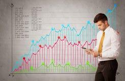 Ζωηρόχρωμο διάγραμμα με τους αριθμούς και τον επιχειρηματία Στοκ εικόνες με δικαίωμα ελεύθερης χρήσης