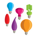 Ζωηρόχρωμο διάνυσμα έξι lightbulbs Στοκ Εικόνες