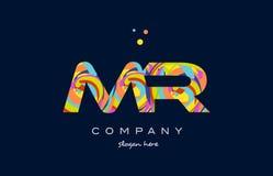 ζωηρόχρωμο διάνυσμα προτύπων εικονιδίων λογότυπων επιστολών αλφάβητου του κ. m r Στοκ Φωτογραφία