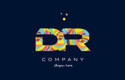 ζωηρόχρωμο διάνυσμα προτύπων εικονιδίων λογότυπων επιστολών αλφάβητου του Δρ d r Στοκ Εικόνα