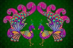 Ζωηρόχρωμο διακοσμημένο Peacock ελεύθερη απεικόνιση δικαιώματος