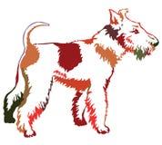 Ζωηρόχρωμο διακοσμητικό μόνιμο πορτρέτο του τεριέ αλεπούδων σκυλιών, διάνυσμα Στοκ Εικόνα