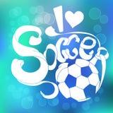 Ζωηρόχρωμο διανυσματικό έμβλημα με το ποδόσφαιρο αγάπης τίτλου Ι εγγραφής Στοκ φωτογραφίες με δικαίωμα ελεύθερης χρήσης